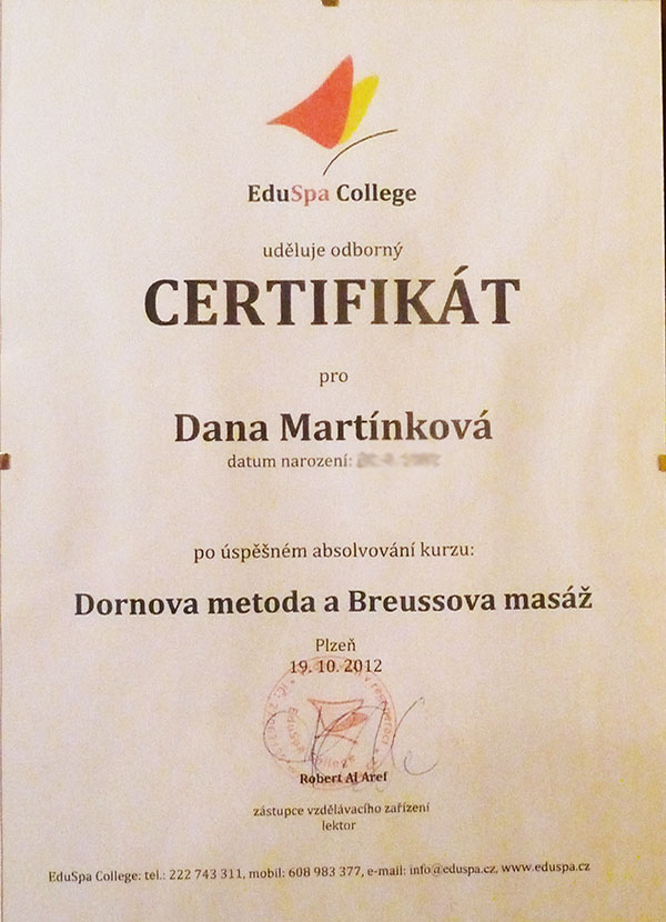 Dana Knotová - certifikát, Breussova masáž a Dornova metoda